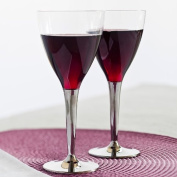 Sabert 10 Disposable Plastic Wine Glasses with Silver Stem