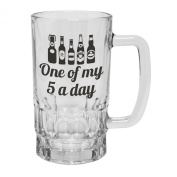 123t Mugs/Steins ONE OF MY FIVE A DAY 470ml Clear Glass Beer Mug/Stein