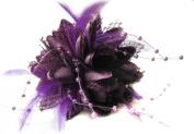 Purple Flora Feather Bead Corsage Hair Clips Fascinator