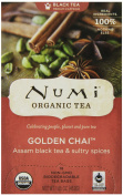 Numi Organic Tea Golden Chai, Full Leaf Black Tea in Teabags, 18-Count Box