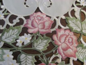 110cm X 38cm Table Runner or Dresser Scarf with Victorian Pink Roses on Ivory Material