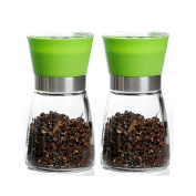 Glass Pepper and Salt Grinder with Ceramic grinding mechanism, 13cm (Green), Set of Two
