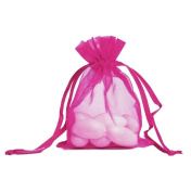 100pcs Hot Pink Organza Drawstring Pouches Jewellery Party Wedding Favour Gift Bags 10cm x 15cm
