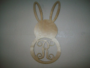 Unfinished Wood Easter Bunny Long Ears Fat Vine Monogram in 60cm Tall