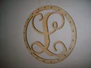 Unfinished Wood Round Frame with Holes Vine Monogram in 44cm X 44cm