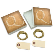 Letter Q Wooden Engraving White Gift Boxes Set of 2