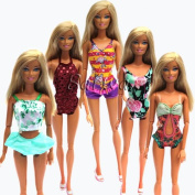 5 Sets Swimwear Swimsuit Beach Bikini Bathing Clothes for Barbie Doll with Shoes Xmas Gift