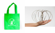 Vertical Vortex Spring with Green Carry Bag Travelling Interactive Kinetic Toy