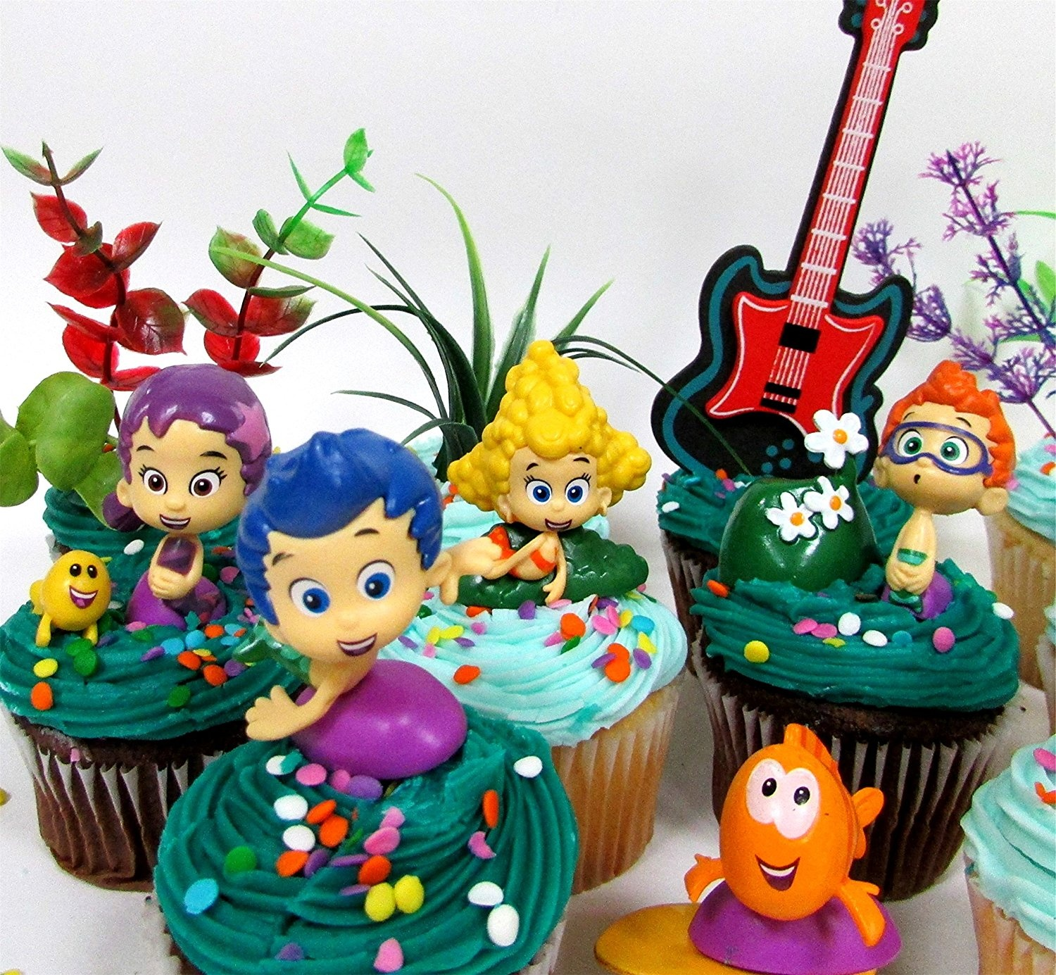 Bubble Guppies 19 Piece Birthday Cupcake Topper Set Featuring 12 Bubble  Guppies 5 1cm Characters