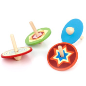 4Pcs Traditional Colourful Small Wooden Spinning Tops Kid's Play Toy