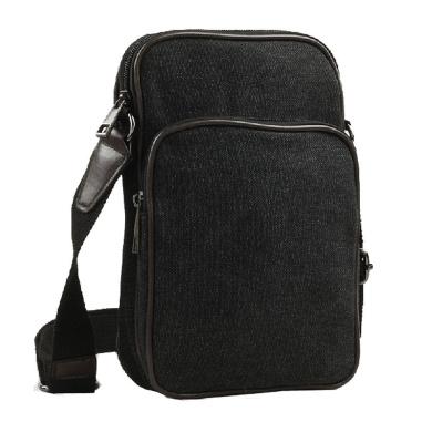 Paonies Men Small Casual Canvas Shoulder Bag Everyday Satchel Bag (Black)