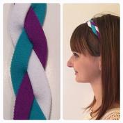 Fabulicious Purple Turquoise White Braided Headband© - NON SLIP Sports Headband Fashion Team Elastic No Armour
