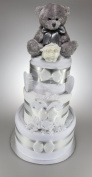 Baby Boy Girl Unisex Nappy Cake With Silver Teddy Bear New Baby Shower Gift Present