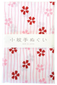 "Japanese Traditional Towel ""Tenugui"" Small PatternStripe-cherry-blossom"