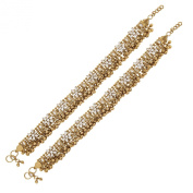 Antique Kundan Flower Gold Plated Payal Anklet Pair 30Cm
