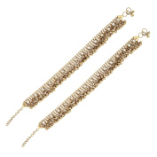 Anique Gold Plated Kundan Traditional Payal Anklet Pair 30Cm