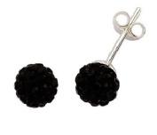 Silver Black Crystal Ball Studs 7.5mm
