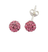Silver Pink Crystal Ball Studs 7.5mm