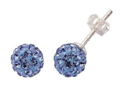 Silver Blue Crystal Ball Studs 7.5mm