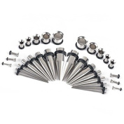 32Pcs Stainless Steel 14G-00G Ear Tapers & Plugs Ear Gauges Expander Stretching Kit