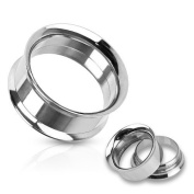 Pair of Double Flared Stainless Steel Ear Plugs Internally Threaded, Choose yoru Size Black & Silver by SHOKK™