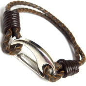 Mens Brown Braided Leather Strap Bracelet Stainless Steel Clasp