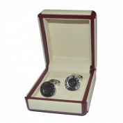 De Luxe Black Round Art Deco Style Grooms Father Cufflinks in Cream Leatherette Gift Box