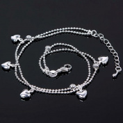 TR.OD Five Hearts Love Design Pendant Charm Chain Anklet Bracelet Bangle Foot Jewellery Barefoot Silver Tone