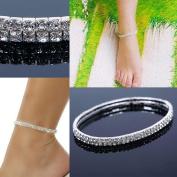 TR.OD Stretchable Elastic Full Rhinestone Anklet Ankle Foot Jewellery Barefoot Bracelet Bangle 2 Layer