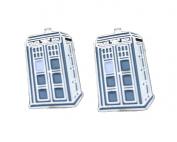 TV Series The Doctor. Blue and SilverTone Metal Tardis Cufflinks. Gift Box