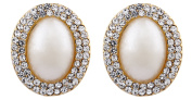 CLIP ON EARRINGS - GOLD PLATED VINTAGE PEARL & CRYSTALS - Bertha G by Bello London