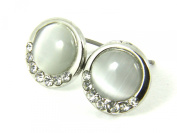 Cats Eye Stud Earrings - Round White with Crystals - Includes Gift Bag