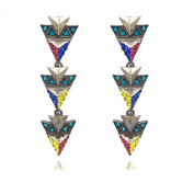 Colour Blocking Punk Crystal Earrings - Pouch
