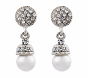 CLIP ON EARRINGS - SILVER PLATED PEARL & CRYSTAL DROP - Bell S by Bello London