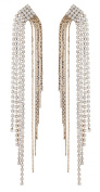 CLIP ON EARRINGS - GOLD PLATED CRYSTAL ZIRCONIA CHANDELIER WITH DIAMANTE STRANDS - Britt G