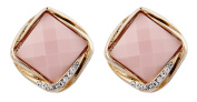 CLIP ON EARRINGS - GOLD PLATED VINTAGE PINK STONE & CRYSTALS - Betty P by Bello London