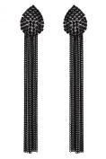 CLIP ON EARRINGS - BLACK CRYSTAL TEARDROP CHANDELIER WITH CHAIN FRINGE - Brook by Bello London