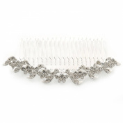 Bridal/ Wedding/ Prom/ Party Rhodium Plated Clear Austrian Crystal Hair Comb - 100mm
