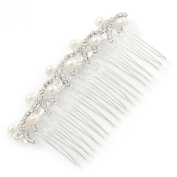 Bridal/ Wedding/ Prom/ Party Rhodium Plated Clear Austrian Crystal, Light Cream Simulated Pearl Bow Hair Comb - 90mm