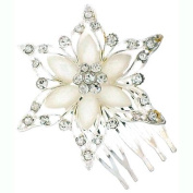 White Bead Crystal & Silver Aster Flower Hair Comb