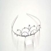 T5473 Shiny Silver Crystal Tiara Brand New