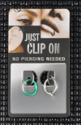 1 x Test Clip on Fake Piercing Nose Ring Vaginal Lips Green 8 mm 1 x Silver Ear 90027
