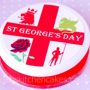 St George's Day Cake Topper - 19cm Round - Icing or Wafer