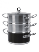 Morphy Richards 18cm 3-Tier Steamer - Black