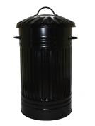 46L Litre Black Galvanised Metal Bin - Ideal for Kitchen, Bedroom, Living Room, Rubbish, Waste, Dustbin