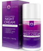 Night Cream Moisturiser Treatment for Face - Infused with Vitamin C, Niacinamide (Vitamin B3), Matrixyl 3000, Rosehip Oil & Argan Oil - Made With Natural & Organic Ingredients - Reduces the Appearance of Fine Lines, Wrinkles, Hyper Pigmentation & Uneve ..