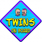 TOON BOY & GIRL TWINS Baby on Board Car Window Sign