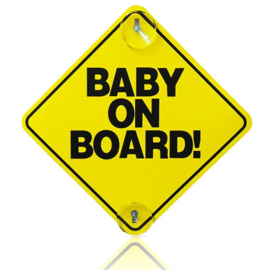 BABY ON BOARD CHILD SAFETY WITH SUCTION CUPS CAR VEHICLE SIGNS BABY ON BOARD 2 Fusion (TM)