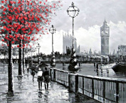 View Of London Big Ben From The South Bank by The River Thames - Large Fine Art oil on canvas painting - Superb quality and craftsmanship, hand made wall art