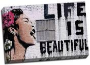 Large Banksy Graffiti Life is Beautiful Canvas Print Poster 80cm x 50cm A1